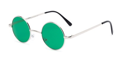 Angle of Dune #2426 in Silver Frame with Dark Green Lenses, Women's and Men's Round Sunglasses