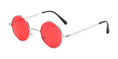 Angle of Dune in Silver Frame with Dark Red Lenses, Women's and Men's Round Sunglasses