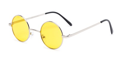 Angle of Dune #2426 in Silver Frame with Yellow Lenses, Women's and Men's Round Sunglasses