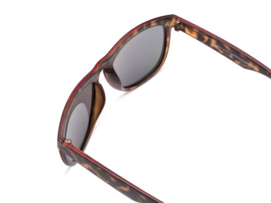 Detail of Duran #2031 in Tortoise Frame with Orange Mirrored Lenses