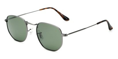 Angle of Dylan #2022 in Matte Grey Frame with Green Lenses, Women's and Men's Round Sunglasses