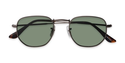 Folded of Dylan #2022 in Matte Grey Frame with Green Lenses