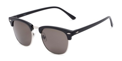 Angle of Eastland #54094 in Black Frame with Grey Lenses, Women's and Men's Browline Sunglasses