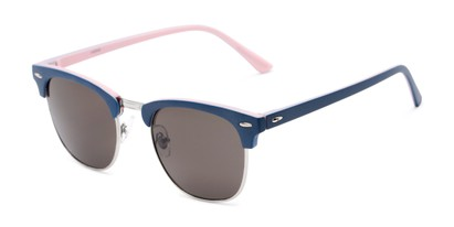 Angle of Eastland #54094 in Blue/Pink Frame with Grey Lenses, Women's and Men's Browline Sunglasses