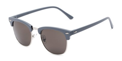 Angle of Eastland #54094 in Light Blue Frame with Grey Lenses, Women's and Men's Browline Sunglasses