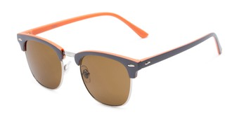 Angle of Eastland #54094 in Grey/Orange Frame with Amber Lenses, Women's and Men's Browline Sunglasses