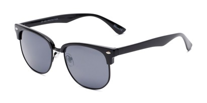 Angle of Elkhart #6209 in Glossy Black Frame with Grey Lenses, Women's and Men's Browline Sunglasses