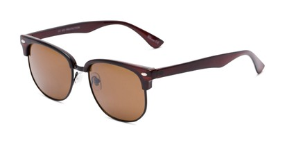 Angle of Elkhart #6209 in Glossy Brown Frame with Amber Lenses, Women's and Men's Browline Sunglasses