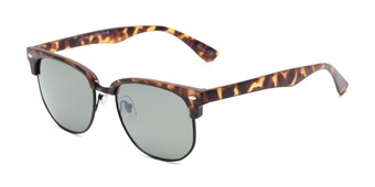 Angle of Elkhart #6209 in Matte Tortoise Frame with Green Lenses, Women's and Men's Browline Sunglasses
