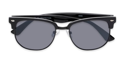Folded of Elkhart #6209 in Glossy Black Frame with Grey Lenses