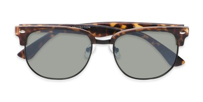 Folded of Elkhart #6209 in Matte Tortoise Frame with Green Lenses
