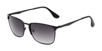 Angle of Ellis #25049 in Matte Black Frame with Smoke Lenses, Women's and Men's Square Sunglasses