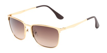 Angle of Ellis #25049 in Glossy Gold Frame with Amber Lenses, Women's and Men's Square Sunglasses