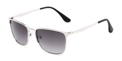 Angle of Ellis #25049 in Glossy Silver Frame with Smoke Lenses, Women's and Men's Square Sunglasses