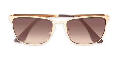 Folded of Ellis #25049 in Glossy Gold Frame with Amber Lenses