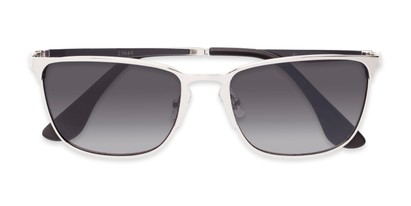 Folded of Ellis #25049 in Glossy Silver Frame with Smoke Lenses