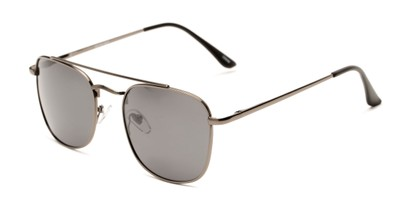 Angle of Elm #8318 in Glossy Gunmetal Frame with Smoke Lenses, Women's and Men's Aviator Sunglasses