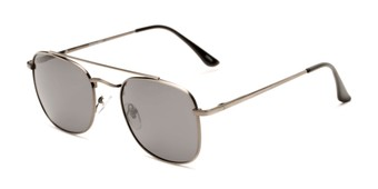 Angle of Elm #8318 in Matte Grey Frame with Smoke Lenses, Women's and Men's Aviator Sunglasses
