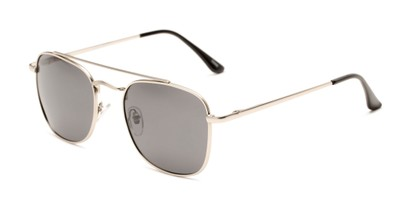 Angle of Elm #8318 in Matte Silver Frame with Smoke Lenses, Women's and Men's Aviator Sunglasses