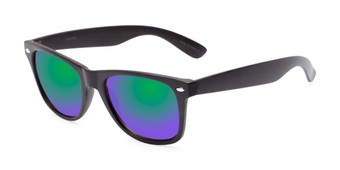 Angle of Emerson #54010 in Dark Brown Frame with Green/Purple Mirrored Lenses, Women's and Men's Retro Square Sunglasses