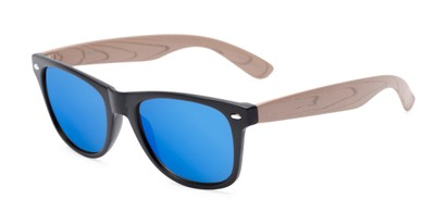 Angle of Emerson #54010 in Black/Tan Frame with Blue Mirrored Lenses, Women's and Men's Retro Square Sunglasses