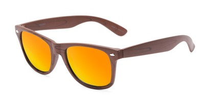 Angle of Emerson #54010 in Brown Frame with Orange Mirrored Lenses, Women's and Men's Retro Square Sunglasses