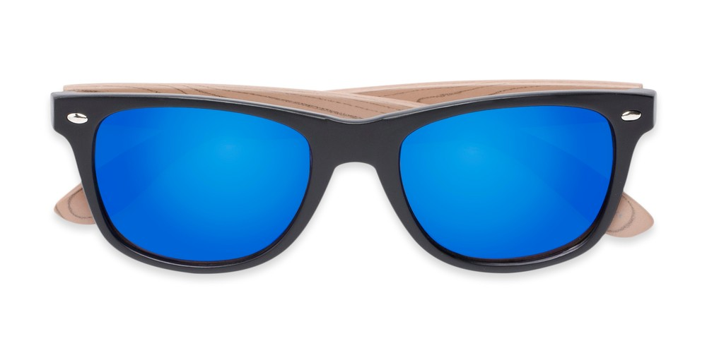 1335fca3b93 Faux Wood Retro Square with Mirrored Lenses