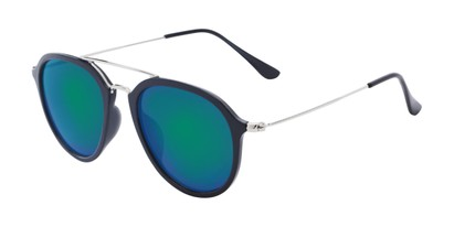 Angle of Enfield #51020 in Glossy Black/Silver Frame with Blue Mirrored Lenses, Women's and Men's Aviator Sunglasses