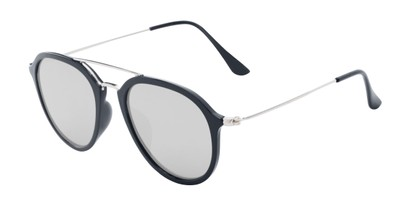 Angle of Enfield #51020 in Glossy Black/Silver Frame with Silver Mirrored Lenses, Women's and Men's Aviator Sunglasses