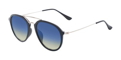 Angle of Enfield #51020 in Glossy Black/Silver Frame with Blue Faded Lenses, Women's and Men's Aviator Sunglasses