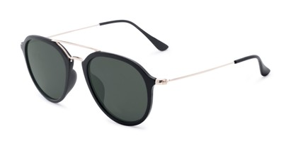 Angle of Enfield #51020 in Matte Black/Gold Frame with Green Lenses, Women's and Men's Aviator Sunglasses