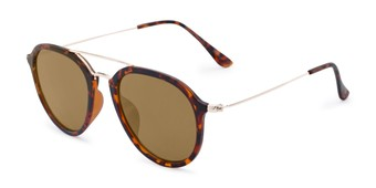 Angle of Enfield #51020 in Glossy Tortoise/Gold Frame with Gold Mirrored Lenses, Women's and Men's Aviator Sunglasses
