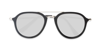 Folded of Enfield #51020 in Glossy Black/Silver Frame with Silver Mirrored Lenses