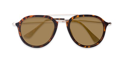 Folded of Enfield #51020 in Glossy Tortoise/Gold Frame with Gold Mirrored Lenses