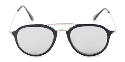 Front of Enfield #51020 in Glossy Black/Silver Frame with Silver Mirrored Lenses