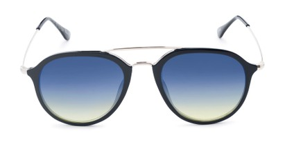 Front of Enfield #51020 in Glossy Black/Silver Frame with Blue Faded Lenses