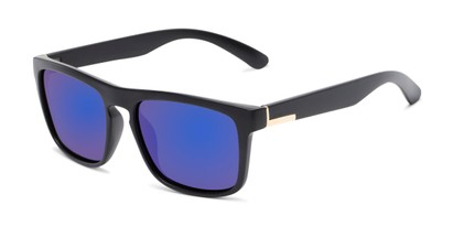 Angle of Ethan #60972 in Matte Black Frame with Blue Mirrored Lenses, Men's Retro Square Sunglasses