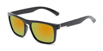 Angle of Ethan #60972 in Matte Black Frame with Orange/Yellow Mirrored Lenses, Men's Retro Square Sunglasses