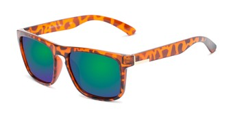 Angle of Ethan #60972 in Tortoise Frame with Blue/Green Mirrored Lenses, Men's Retro Square Sunglasses