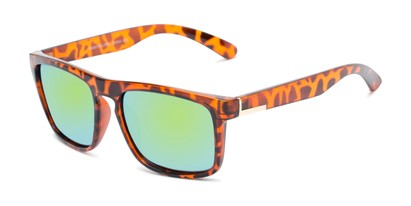 Angle of Ethan #60972 in Tortoise Frame with Yellow/Blue Mirrored Lenses, Men's Retro Square Sunglasses