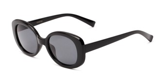 Angle of Fanning #16260 in Black Frame with Grey Lenses, Women's Round Sunglasses