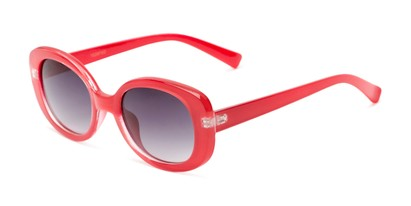 Angle of Fanning #16260 in Red Frame with Smoke Lenses, Women's Round Sunglasses
