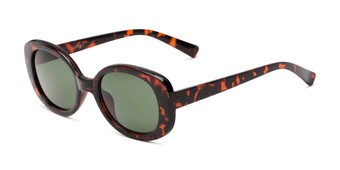 Angle of Fanning #16260 in Tortoise Frame with Green Lenses, Women's Round Sunglasses