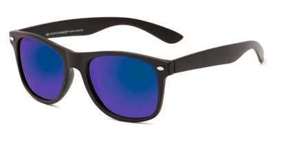 Angle of Fillmore #6932 in Matte Black Frame with Blue/Purple Mirrored Lenses, Women's and Men's Retro Square Sunglasses