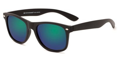 Angle of Fillmore #6932 in Matte Black Frame with Green/Purple Mirrored Lenses, Women's and Men's Retro Square Sunglasses