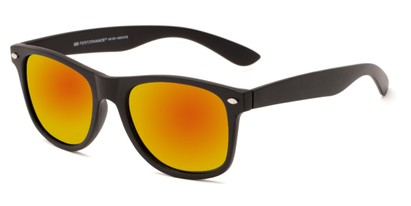 Angle of Fillmore #6932 in Matte Black Frame with Orange/Yellow Mirrored Lenses, Women's and Men's Retro Square Sunglasses