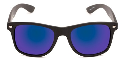 Front of Fillmore in Matte Black Frame with Blue/Purple Mirrored Lenses