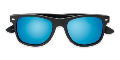 Folded of Fillmore #6932 in Matte Black Frame with Blue Mirrored Lenses