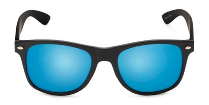 Front of Fillmore in Matte Black Frame with Blue Mirrored Lenses