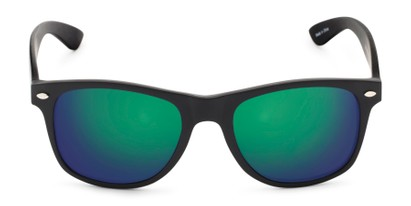Front of Fillmore in Matte Black Frame with Green/Purple Mirrored Lenses